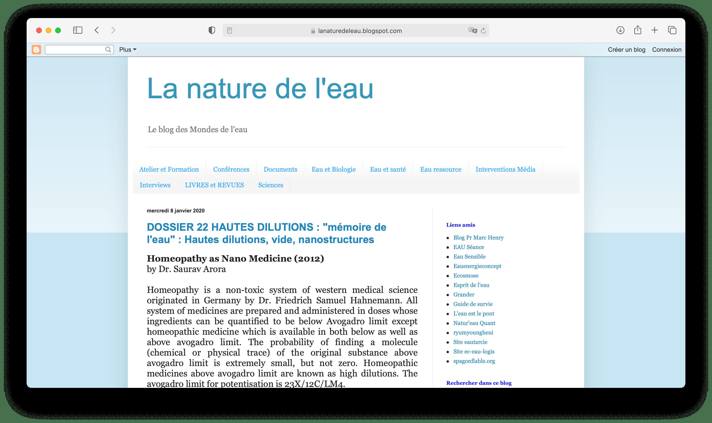 Aperçu du site Internet La nature de l'eau